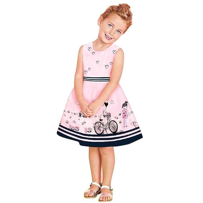 FEITONG Niñito Niños Bebé Vestir Chicas Rosas Sin mangas Fiesta Princesa Vestidos de desfile (5T