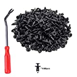 Podoy 100 PCS Fender Clips Body Rivets Fasteners Push Retainer For ATV Honda Suzuki Kawasaki 7661855, 90653-HC4-900 with Remover 8mm