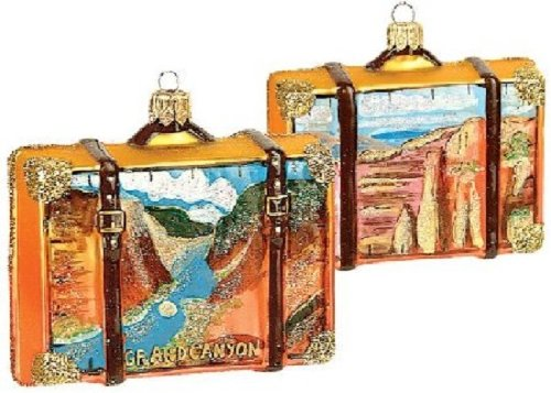 Pinnacle Peak Trading Company Grand Canyon Travel Suitcase Glass Christmas Ornament ONE Decoration Arizona New]()