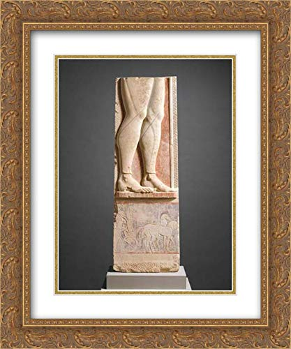 (Greek, Attic Culture - 20x24 Gold Ornate Frame and Double Matted Museum Art Print - Fragment of The Marble Stele (Grave Marker) of a Hoplite (Foot Soldier))