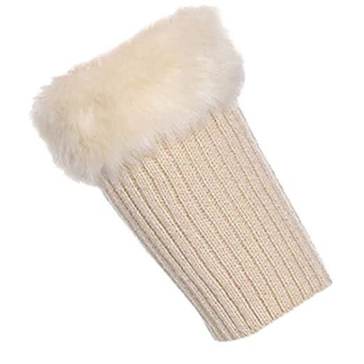 9e5ca0cb6eb Leg Warmers Fur Kint Womens Leg Warms Winter Warm Cuff Socks Short Leg  Warmers (Beige
