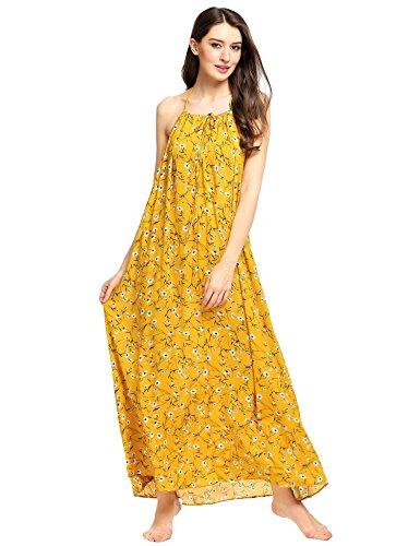 Zeagoo Women's Boho Floral Print Long Maxi Dress Casual Backless Beach Sundress