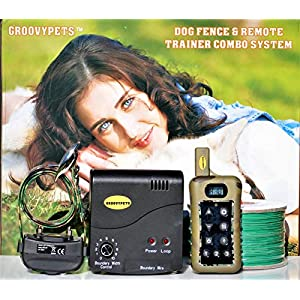GROOVYPETS Remote Dog Training Shock Collar & Underground/In-Ground Electric Containment Fence System Combo for Medium… Click on image for further info.