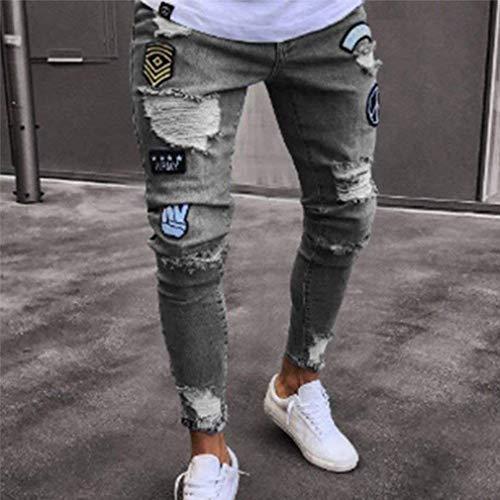 Fit Graua Hip Strappati Da Slim Streetwear Jeans Elasticizzata Chiusura Hop Uomo Con Pantaloni Fori ROgzwqHx