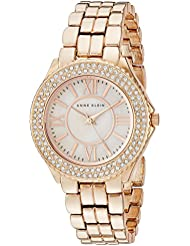 Anne Klein Womens AK/1462RMRG Swarovski Crystal Accented Rose Gold-Tone Bracelet Watch