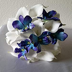 Peacock Purple Blue Turquoise Orchid Calla Lily Bridal Wedding Bouquet & Boutonniere 3