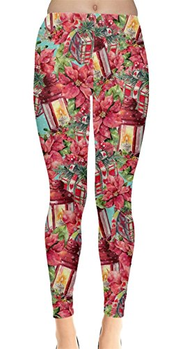 CowCow Womens Christmas Floral Xmas Leggings, Red - (Red And Green Leggings)