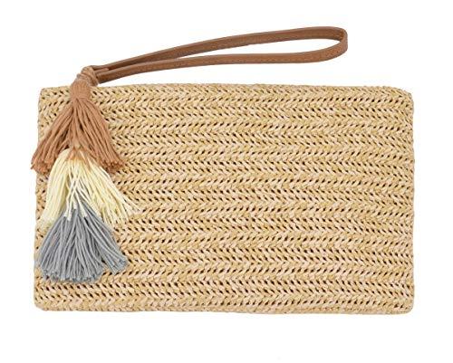 Type Clutch - AGNETA Women's Hand Wrist Type Straw Clutch Summer Beach Sea Handbag (Beige Large with Tassel)