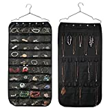 Thipoten Hanging Jewelry Organizer, Non-Woven 40 Pockets and 20 Magic Tape Hooks Accessory Holder (Black)