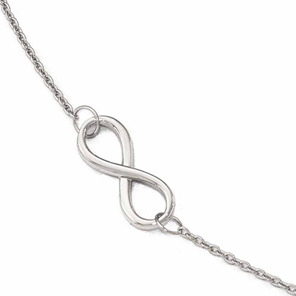 14k White Gold Infinity Anklet 9 inches plus Extender