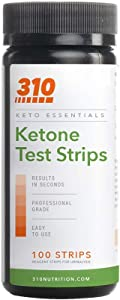 Ketone Testing Strips by 310 Nutrition (100 Strips) - Test Ketosis Levels During Low Carb Keto Diet - Accurate Urine Test for Ketogenic Measurement