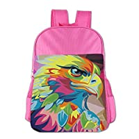 Gibberkids Kids Eagle Hawk Oil Painting Colored School Lunch Bag Bookbag Boys/Girls For 4-15 Years Old Pink