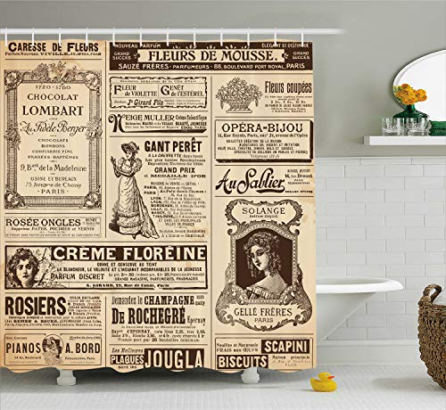 (Ambesonne Paris Shower Curtain, Vintage Old Historic Newspaper Journal French Paper Lettering Art Design, Cloth Fabric Bathroom Decor Set with Hooks, 70
