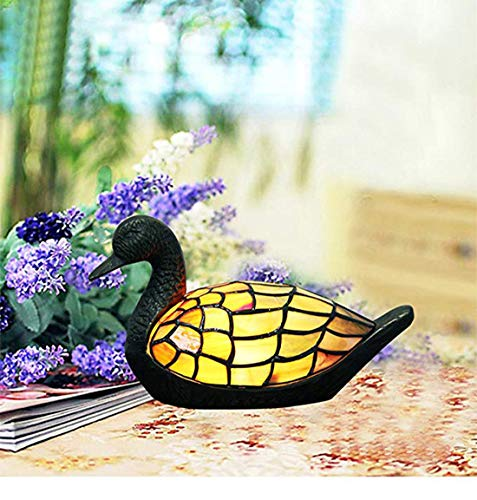 Makenier Vintage Decorative Tiffany Style Stained Glass Duck-Shaped Table Lamp Night Light Ducks Stained Glass Tiffany Lamp