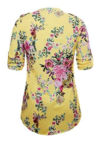 Neuf Jaune col en V plissé Bouton avant Floral Tunique Pull Chemisier de soirée pour femme Tenue décontractée d'été Taille UK 12EU 40