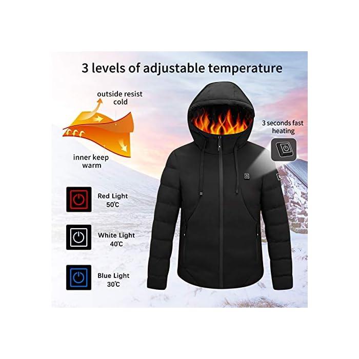 51EfXNFzj3L Chaqueta con calefacción eléctrica con capucha: la chaqueta está hecha de algodón, poliéster y material impermeable, que puede ayudar a mantener el calor y evitar el agua y la lluvia. El tamaño de S a XXL es adecuado para casi todos, elija de acuerdo con la tabla de tallas. Grandes áreas de calefacción: el componente de calefacción de la chaqueta térmica está hecho de fibra de carbono importada y tiene grandes áreas de calefacción en la posición de la espalda y la nuca. Con tecnología de calefacción madura, esta chaqueta térmica puede calentarse rápidamente en climas extremadamente fríos. 3 Control de temperatura con calefacción: se pueden seleccionar tres temperaturas con solo presionar un botón en esta chaqueta cálida. Alta temperatura: color rojo (50 ° C), Temperatura media: color azul (40 ° C), Baja temperatura: color verde (30 ° C). El nivel de calentamiento ajustable lo hace ideal para la mayoría de las personas.