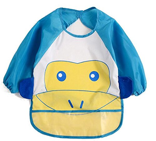 Very Attractive Baby Bibs Scarves Toddler Long Sleeve Cartoon Feeding Apron_Blue Easyflower