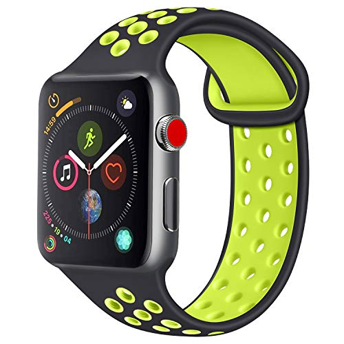 Tobfit Band Replacement Watch Band 38mm 40mm 42mm 44mm, Breathable Sport Strap Compatible with for iWatch Series 4/3/2/1, Black/GreenYellow, 42mm/44mm M/L