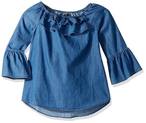 My Michelle Big Girls' Denim Top with Bell Sleeve, Indigo, S