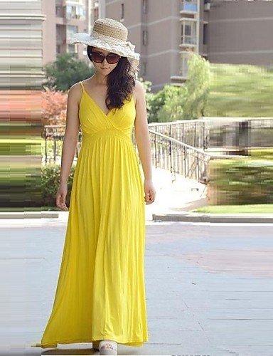 PU&PU Robe Aux femmes Swing Décontracté / Plage , Couleur Pleine A Bretelles / V Profond Maxi Coton , yellow-m , yellow-m
