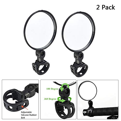 Yifant 2 Pack 360° Rotation Adjustable Rear View Mirrors for Bike Cycling Bicycle Xiaomi M365 Ninebot ES1 ES2 Electric Scooter Accessories Lightweight Handlebar Mounted Glass (2 pcs Mirrors, 0.12kg)