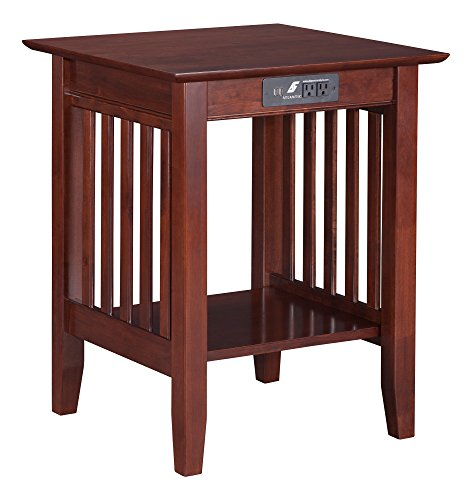 - Atlantic Furniture AH10234 Mission Printer Stand with Charging Station, Walnut