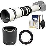 Vivitar 650-1300mm f/8-16 Telephoto Lens (White) (T Mount) 2X Teleconverter (=2600mm) + Kit Nikon D3200, D3300, D5300, D5500, D7100, D7200, D610, D750, D810 Camera
