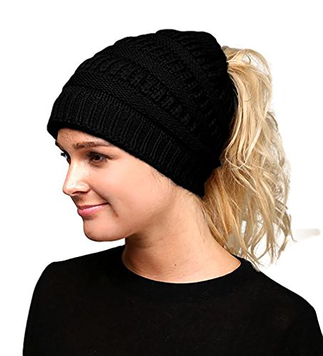 Fashion Love Super Soft Solid Color Cable Knit Warm Winter Stretch Beanie Cap Ponytail Bun Hat (Black) (Super Stretch Knit Hat)