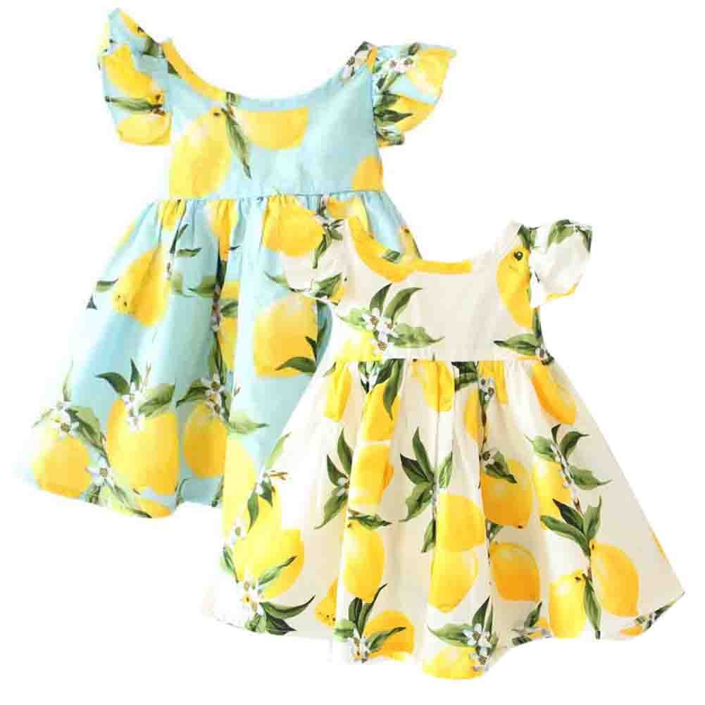 a507ca0066aa Baby Girls Dress Lemon Floral Falbala,100% Cotton,softy, Breathable and  comfortable. Toddler Sleeveless Sundress,Fits US size 12M 18M 24M 2T 3T 4T  5T 6T.