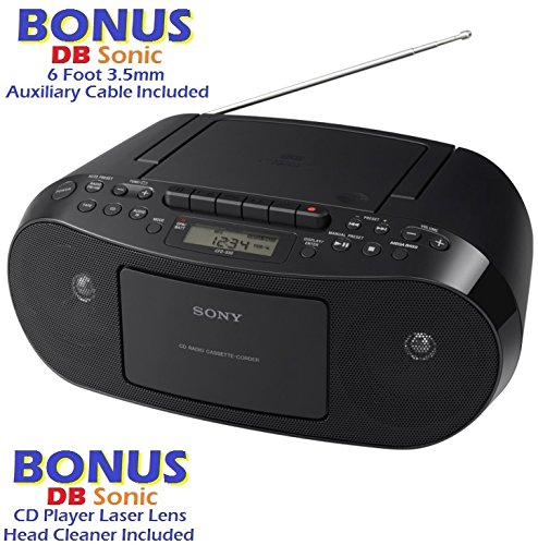 Sony Compact Portable Stereo Sound System Boombox with MP3 CD Player, Digital Tuner AM/FM Radio, Tape Cassette