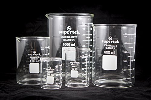 Beaker, Low Form, Borosilicate Glass, Set of 5 (50, 100, 250, 600 and 1000ml) by Supertek