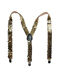 CTM® Women's Elastic Sequins Suspenders, Gold