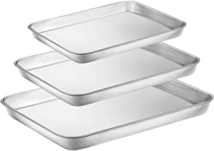 WEZVIX Baking Sheet Stainless Steel Set of 3 Tray Cookie Sheet Toaster Oven Pan 9 & 10 & 12 inches, Non Toxic & healthy, Rust Free & Less Stick, Thick & Sturdy, Easy Clean & Dishwasher Safe