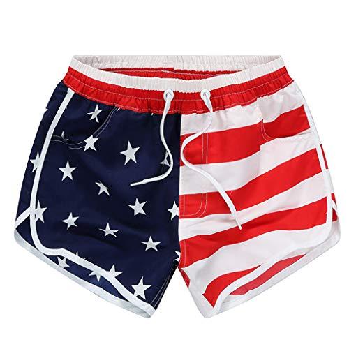 (Londony♚ Beach Pants for Women Plus Size, July 4Th American Flag Shorts Basic Running Shorts Swimwear Trunks)