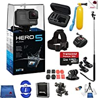 Gopro Hero 5 Black 14 Piece Epic Bundle Includes: Go Pro Hero5 Black + Case + Floaty Bobber + Head Strap + Glove Mount + Monopod + More