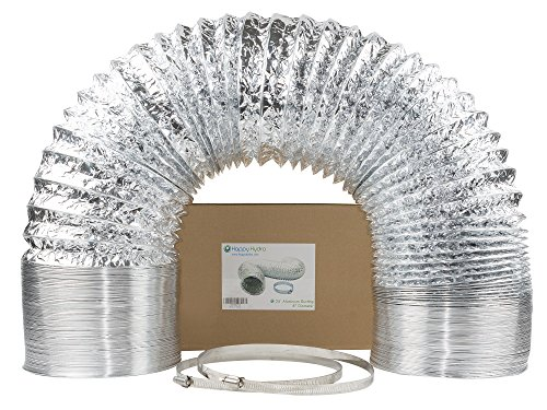 "8"" x 25' HVAC Flex Duct Non-Insulated Venting Hose with 2 Worm Gear Clamps for Grow Room and - Foil Flex Duct"