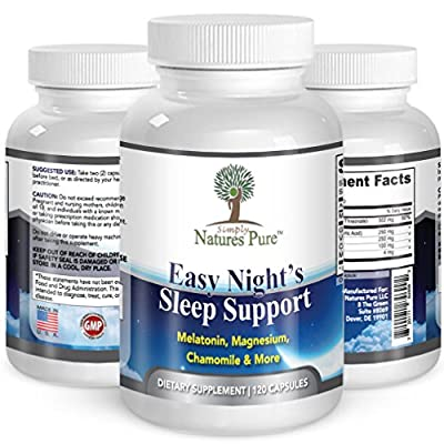 Easy Nights Sleep Support Aid with Magnesium Melatonin Valerian Root and Chamomile 2 Months Supply 120 Capsules