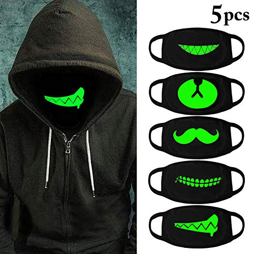 Outgeek 5Pcs Halloween Luminous Face Masks Unisex Anti Dust Mouth Masks Glow in The Dark