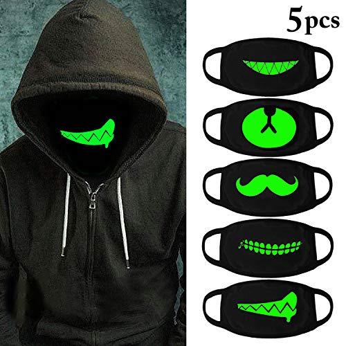 Outgeek 5Pcs Halloween Luminous Face Masks Unisex Anti Dust Mouth Masks Glow in The Dark -