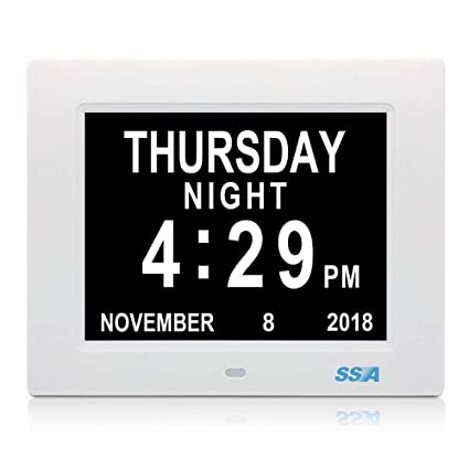Digital Calendar.Ssa Alarm Clock 8 Inch Digital Calendar Day Clock With Clear Large Non Abbreviated Day Month Wall Hanging Or Desk Shelf Clock Dementia Clock Pefect