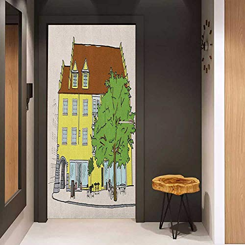 - Toilet Door Sticker German Sketch of Old Building in Lindau Germany Colorful Illustration Bavarian Architecture Glass Film for Home Office W35.4 x H78.7 Multicolor