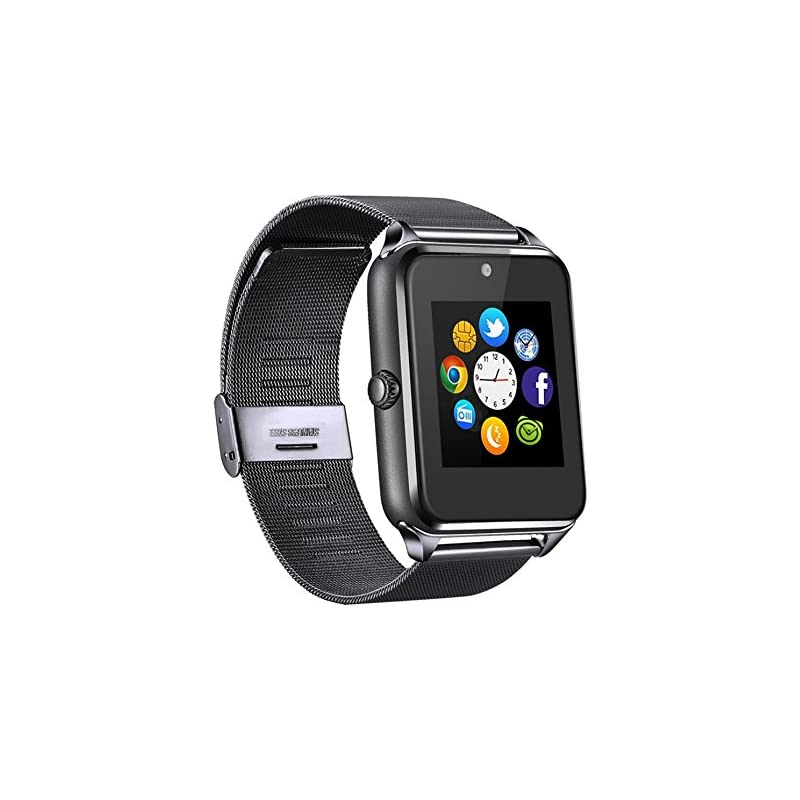 MSRM Replaceable Band Bluetooth Smart Watch Call Sync and Handfree Support Android 4.2 or Above and Iphone5s/6/6s/7/7s (Partial Functions for iPhone) (BK)