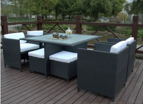 Outdoor Wicker Patio Furniture 9 Pc Dining Table Set with 4 Chairs&4 Footstool price