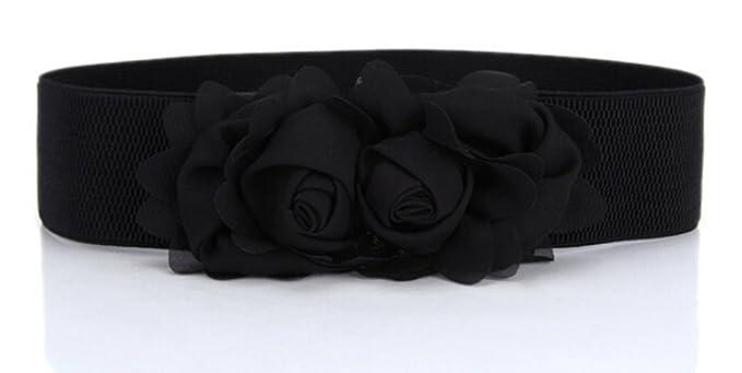 Vintage Retro Belts Flower Elastic Wide Waist Belt $7.39 AT vintagedancer.com