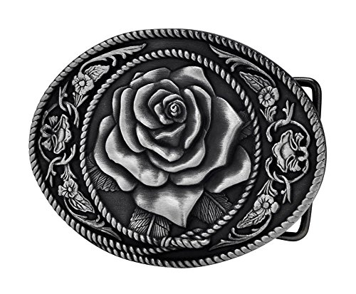 Mens Silver Belt Buckles (Buckle Rage Adult Womens Western Vintage Rose Ornate Rope Belt Buckle)