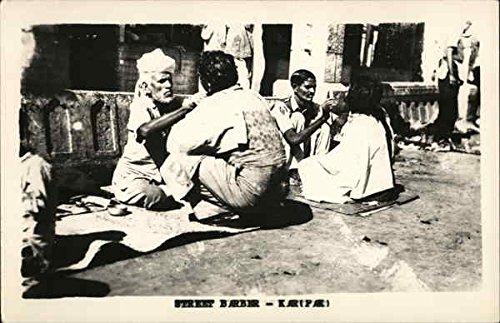 Street Barber Karachi, Pakistan Original Vintage Postcard