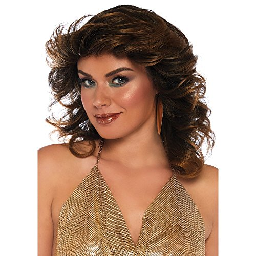 Leg Avenue Women's Fashion Synthetic Costume Cosplay Farrah Feathered Wig, Brown, One Size