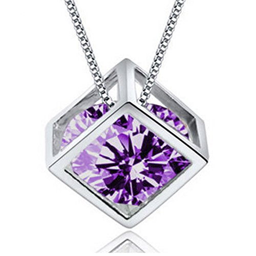 White Zircon Necklace - 18k White Gold Plate 0.5ct Cubic Zirconia Diamond Cube Pendant Necklace Clear Zircon Women Jewelry