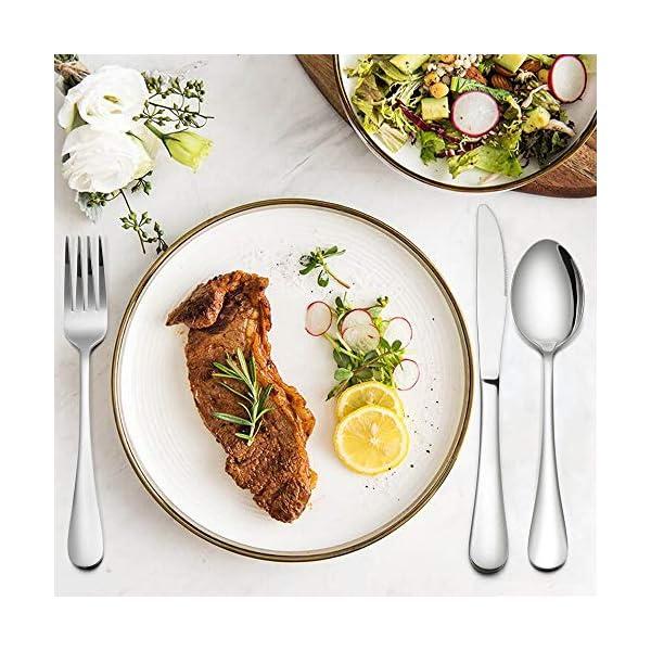 Silverware Set, 40-Piece Flatware Set, E-far Stainless Steel Eating Utensils Service for 8, Dinner Knives/Forks/Spoons… 5