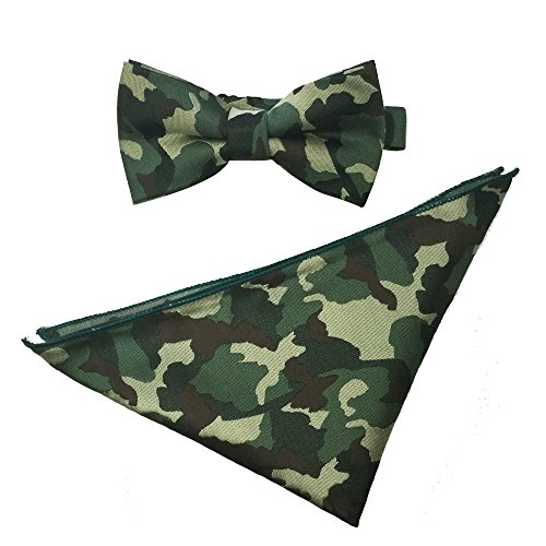 Mens Wedding Party Business Pre-tied Camouflage Bowtie Pocket Square Hankerchief Set (Dark Green Camouflage)